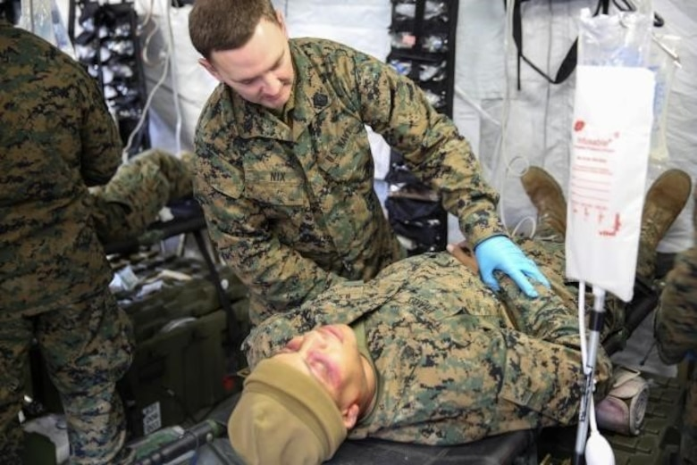 Seaman Dustin Nix, a corpsman with 2nd Medical Battalion, treats a role-player for injuries in preparation for their upcoming multinational exercise, Cold Response 16.1, in Norway.at Camp Lejeune, N.C, Jan. 28, 2016.  The corpsmen treated similar injuries caused by cold weather, a climate they will experience in Norway.  (U.S. Marine Corps photo by Cpl. Michael Dye)