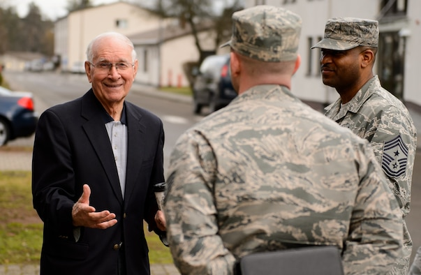 The eighth chief master sergeant of the Air Force, Sam E. Parish, jokes with instructors of the Ramstein Airmen Leadership School Jan. 27, 2016, at Ramstein Air Base, Germany. Parish visited a variety of locations around Germany and spoke with several organizations about their projects and how Airmen are taught professional military education. (U.S. Air Force photo/Staff Sgt. Armando A. Schwier-Morales)