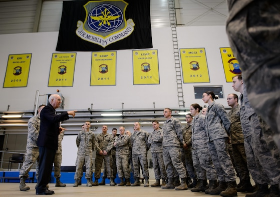 The eighth chief master sergeant of the Air Force, Sam E. Parish, talks about Air Force jobs and their impact on the mission Jan. 27, 2016, at Ramstein Air Base, Germany. Airmen from the 521st Air Mobility Operations Wing had an opportunity to meet Parish and discuss the differences from when Parish enlisted and the current Air Force. Parish was the guest speaker at a variety of venues including Airman leadership school, squadron all calls, and the chief induction ceremony as part of his visit. (U.S. Air Force photo/Staff Sgt. Armando A. Schwier-Morales)