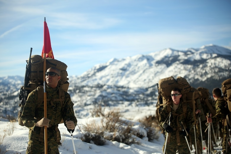 Cpl. Immanuel Friddle, guide for Combat Logistics Battalion 252, prepares for a hike in Bridgeport, Calif., during Mountain Exercise 1-16, a cold weather training exercise, on Jan. 11, 2016. The training is a prerequisite for a large, multi-national exercise called Cold Response 16 that will take place in Norway, March of this year. Cold Response will challenge 12 NATO allies' and partners' abilities to work together and respond in the case of a crisis. (U.S. Marine Corps photo by Lance Cpl. Brianna Gaudi/released)
