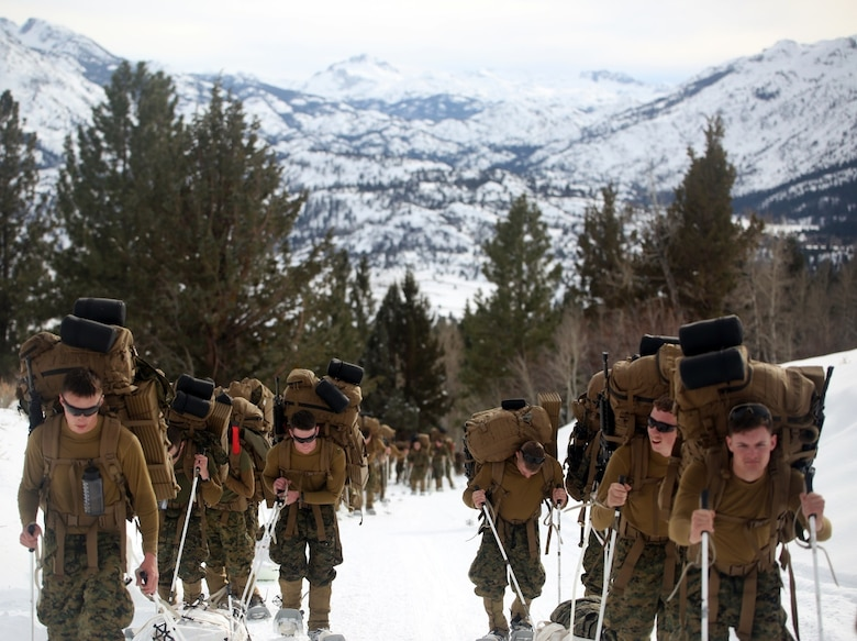 Marines with Combat Logistics Battalion 252 trek up the steep mountains of Bridgeport, Calif,. during Mountain Exercise 1-16, a cold weather training exercise, on Jan. 11, 2016. The training is a prerequisite for a large, multi-national exercise called Cold Response 16 that will take place in Norway, March of this year. Cold Response will challenge 12 NATO allies' and partners' abilities to work together and respond in the case of a crisis. (U.S. Marine Corps photo by Lance Cpl. Brianna Gaudi/released)