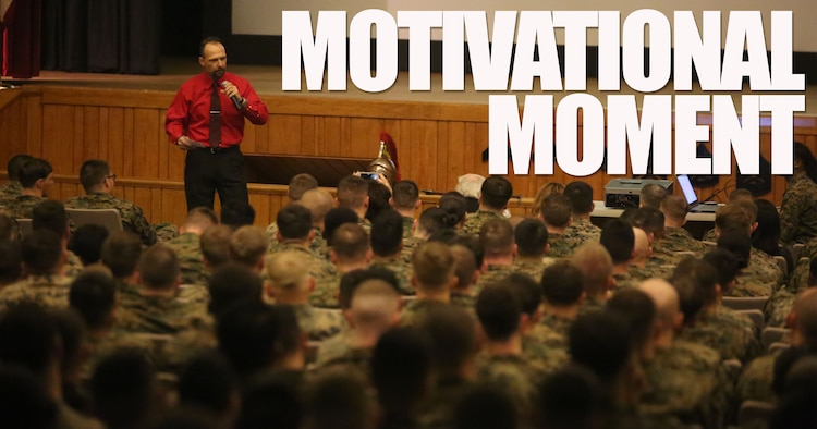"""More than 200 Marines with Combat Logistics Regiment 25 filled the base theater to listen to motivational speaker Todd Parisi at Camp Lejeune, N.C., Jan. 28, 2016. Parisi emphasized, like everything in the Marine Corps, respect is earned. """"Regardless of rank, Marines will loan you respect as one Marine to another, but after a while that has to be earned too,"""" said Parisi. (U.S. Marine Corps illustration by LCpl. Miranda Faughn/Released)"""