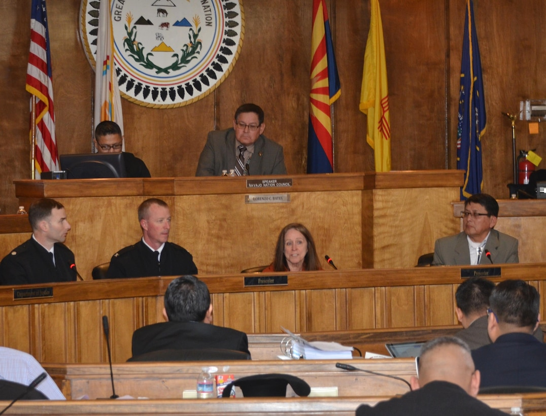 WINDOW ROCK, AZ – Assistant Secretary of the Army for Civil Works Jo-Ellen Darcy addresses the 2016 Winter Council Session of the Navajo Nation Council, Jan. 27, 2016. Also present are Albuquerque District Commander Lt. Col. Patrick Dagon (right); Los Angeles District Commander Col. Kirk Gibbs and Navajo Nation Council Delegate Walter Phelps (right).