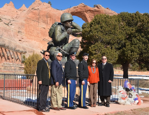 WINDOW ROCK, AZ – (l-r): Ed Demesa, chief, Planning Branch, Los Angeles District; Charles Smith, assistant for Environment, Tribal and Regulatory Affairs, Office of the Assistant Secretary of the Army (Civil Works); Col. Kirk Gibbs, commander, Los Angeles District; Lt. Col. Patrick Dagon, commander, Albuquerque District; Assistant Secretary of the Army for Civil Works Jo-Ellen Darcy; Kris Schafer, Deputy District Engineer and chief, Planning, Project and Program Management Division, Albuquerque District.
