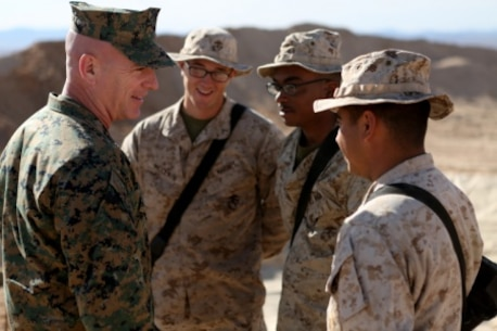 Brigadier General David A. Ottignon, 1st Marine Logistics Group Commanding General, speaks with junior Marines from Combat Logistics Battalion 5 about the important contributions they make to ensure mission success. Ottignon visited several MLG units aboard Marine Corps Air Ground Combat Center Twentynine Palms, Calif., on Jan. 26-27, 2016, to speak with unit commanders as well as engage junior Marines and Non-Commissioned officers to get sense of how the units were doing and what areas could be improved upon.