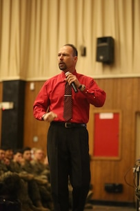 Motivational speaker Todd Parisi, a 28-year Marine Corps veteran, visited Combat Logistics Regiment 25 at Camp Lejeune, N.C., Jan. 28, 2016. Parisi spoke with the Marines about the importance of motivation and how it contributes to camaraderie, morale, and overall performance as a Marine.(U.S. Marine Corps photo by LCpl. Miranda Faughn/Released)