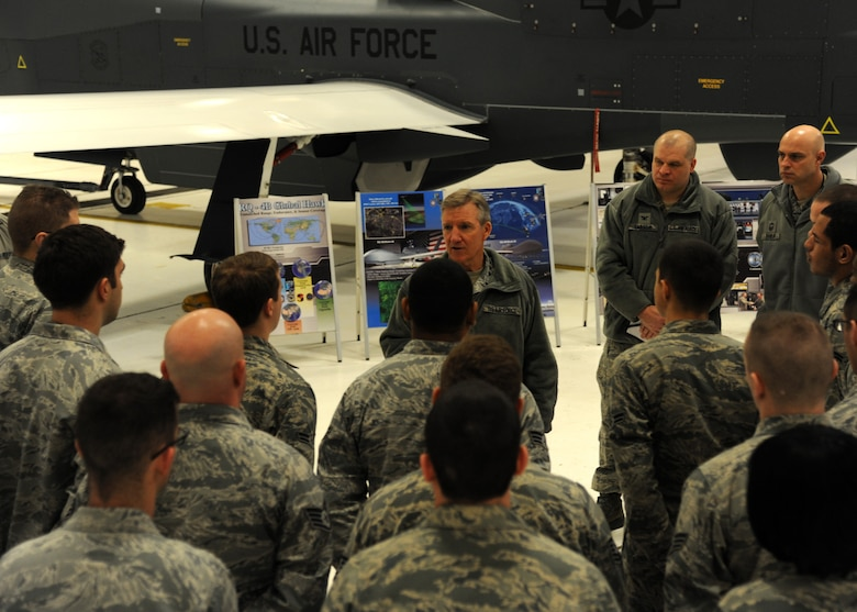 Gen. Herbert J. Hawk Carlisle, commander of Air Combat Command, addresses members of the 69th Reconnaissance Group Feb. 1, 2016, on Grand Forks Air Force Base, N.D. Carlisle spoke about the potential for enlisted Airmen to become remotely-piloted aircraft pilots. (U.S. Air Force photo by Airman 1st Class Ryan Sparks/Released)