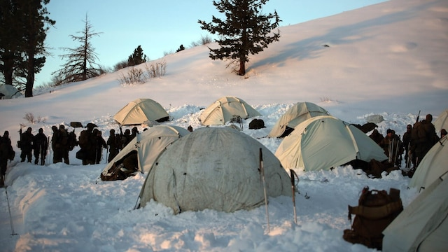 Marines with Combat Logistics Battalion 252 prepare for the day outside of their tents in the mountains of Bridgeport, California, during Mountain Exercise 1-16, a cold weather training exercise, on Jan. 12, 2016. The training is a prerequisite for a large, multi-national exercise called Cold Response 16 that will take place in Norway, March of this year. Cold Response will test 12 NATO allies' and partners' abilities to work together and respond in the case of a crisis.