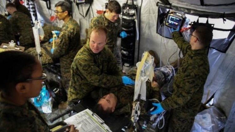 Corpsmen with 2nd Medical Battalion treat notional injuries as part of training exercise in preparation for their upcoming multinational exercise, Cold Response 16.1, in Norway at Marine Corps Base Camp Lejeune, N.C, Jan. 28, 2016.  The corpsmen were evaluated after every scenario in order to better understand what they did for each patient, and why they did it.
