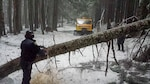 An officer from the King County Sheriff's Office works to clear a fallen tree out of the way of the Snowcat during the rescue operation. The Sheriff's office recently acquired the cat from DLA Disposition Services. Photo provided by the King County Sheriff's Office