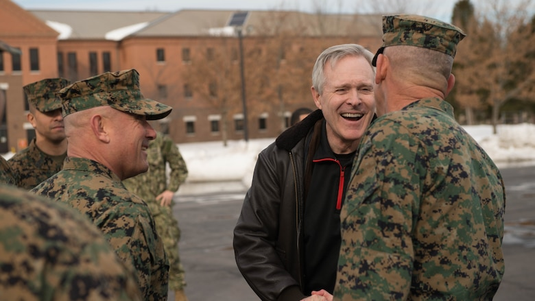 Secretary of the Navy Ray Mabus is greeted by Maj. Gen. James W. Lukeman, right, commanding general, Training and Education Command, and Brig. Gen Austin E. Renforth, left, commanding general, Training Command, during his visit to Officer Candidate School at Marine Corps Base Quantico, Virginia, Jan. 27, 2016. During his visit to Officer Candidate School and The Basic School, Mabus met with the leaders of OCS and TBS to discuss the future of the Marine Corps.