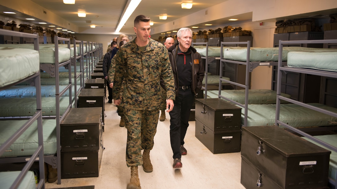 Secretary of the Navy Ray Mabus takes a tour of the barracks at Officer Candidate School during his visit to Marine Corps Base Quantico, Virginia, Jan. 27, 2016. Mabus visited OCS and The Basic School to talk to the officers and staff about the future of the Marine Corps.