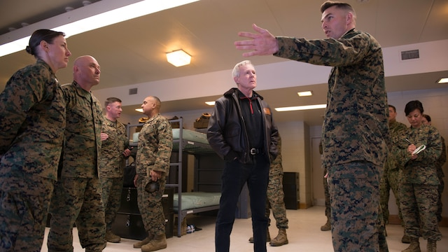 Secretary of the Navy Ray Mabus is given an overview of a squad bay at Officer Candidate School during his visit to Marine Corps Base Quantico, Virginia, Jan. 27, 2016. Mabus visited OCS and The Basic School to talk to the officers about the future of the Marine Corps.