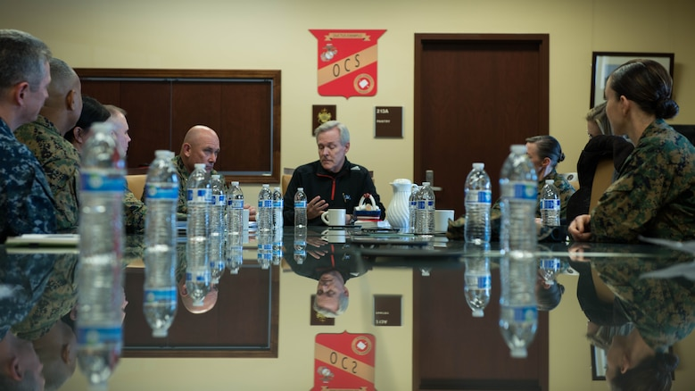 Secretary of the Navy Ray Mabus meets with the staff of Officer Candidate School and Training Command during his visit to Marine Corps Base Quantico, Virginia, Jan. 27, 2016. The meeting gave Marine leaders an opportunity to ask the secretary about the new integration of ground combat military occupational specialties.