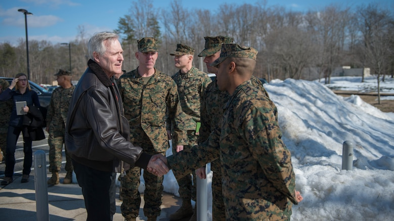 Secretary of the Navy Ray Mabus greets Marines at The Basic School during his visit to Marine Corps Base Quantico, Virginia, Jan. 27, 2016. Mabus greeted the Marines before speaking to a classroom of lieutenants about the future of the Marine Corps.