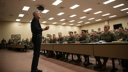 Secretary of the Navy Ray Mabus speaks to a classroom of Marine Corps officers at The Basic School about the future of the Marine Corps during his visit to Marine Corps Base Quantico, Virginia, Jan. 27, 2016. Mabus visited Quantico to talk to Marine Corps officers and officer candidates about gender integration and the future of the Marine Corps.