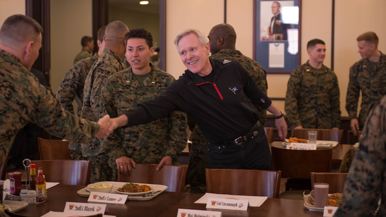 Secretary of the Navy Ray Mabus greets a Marine during his visit to The Basic School as part of his visit to Marine Corps Base Quantico, Virginia, Jan. 27, 2016. Mabus visited Quantico to talk to Marine Corps officers and officer candidates about gender integration and the future of the Marine Corps.