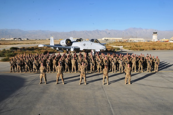 Deployed Airmen from the 442d Fighter Wing comprised the 455th Air Expeditionary Maintenance Unit at Bagram Airbase, Afghanistan in this photo from October 2014. The 455th EAMS at Bagram Airbase, Afghanistan has been awarded the 2015 Air Combat Command Maintenance Effectiveness Award, distinguishing the unit as the top-performing medium aircraft maintenance unit in ACC. (U.S. Air Force photo)