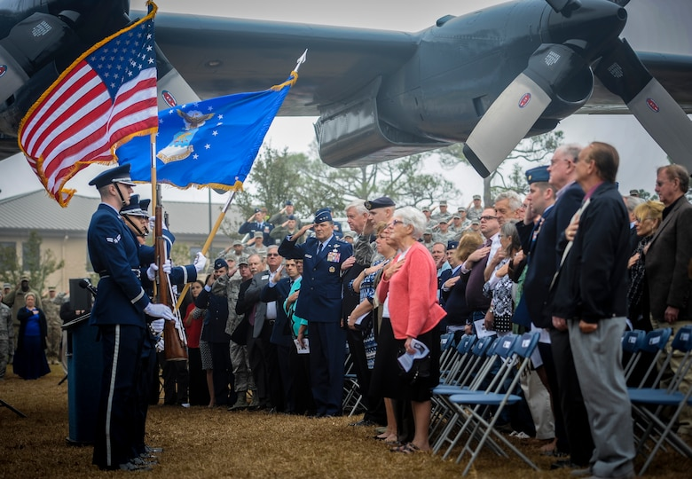 Hurlburt Field Base Honor Guard members present the colors before the AC-130H Spectre dedication ceremony at Hurlburt Field, Fla., Feb. 2, 2016. The Spectre played a role in operations all over the world, first in Vietnam, proceeding into the latter of the 20th century with operations Eagle Claw, Urgent Fury, Just Cause and Desert Storm. The last operational years of the AC-130H Spectre were spent flying combat missions in the Balkans and Somalia, and in Afghanistan in support of Operation Enduring Freedom. (U.S. Air Force photo by Senior Airman Meagan Schutter)
