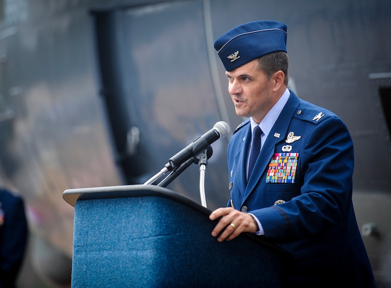 Col. Sean Farrell, commander of the 1st Special Operations Wing, speaks to guests during the AC-130H Spectre dedication ceremony at Hurlburt Field, Fla., Jan. 2, 2016. The Spectre played a role in operations all over the world, first in Vietnam, proceeding into the latter of the 20th century with operations Eagle Claw, Urgent Fury, Just Cause and Desert Storm. The last operational years of the AC-130H Spectre were spent flying combat missions in the Balkans and Somalia, and in Afghanistan in support of Operation Enduring Freedom. (U.S. Air Force photo by Senior Airman Meagan Schutter)