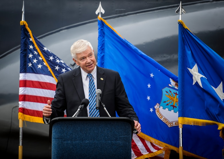Retired Gen. Charles Holland, former commander of U.S. Special Operations Command and Air Force Special Operations Command, speaks to guests during the AC-130H Spectre dedication ceremony at Hurlburt Field, Fla., Feb. 2, 2016. The Spectre played a role in operations all over the world, first in Vietnam, proceeding into the latter of the 20th century with operations Eagle Claw, Urgent Fury, Just Cause and Desert Storm. The last operational years of the AC-130H Spectre were spent flying combat missions in the Balkans and Somalia, and in Afghanistan in support of Operation Enduring Freedom. (U.S. Air Force photo by Senior Airman Meagan Schutter)