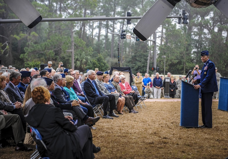 Lt. Gen. Brad Heithold, commander of Air Force Special Operations Command, speaks to guests during the AC-130H Spectre dedication ceremony at Hurlburt Field, Fla., Feb. 2, 2016. More than 400 people attended the dedication ceremonies for the AC-130H Spectre and MC-130P Combat Shadow to honor the legacy of these aircraft at the air park.  As the aircraft retire, the Air Force and Air Force Special Operations Command modernize the fleet with the AC-130J Ghostrider and MC-130J Commando II. (U.S. Air Force photo by Senior Airman Meagan Schutter)