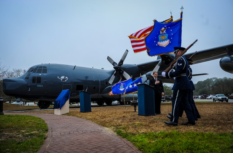 Hurlburt Field Base Honor Guard members present the colors before the MC-130P Combat Shadow dedication ceremony at Hurlburt Field, Fla., Feb. 2, 2016. More than 400 people attended the dedication ceremonies for the AC-130H Spectre and MC-130P Combat Shadow to honor the legacy of these aircraft at the air park.  As the aircraft retire, the Air Force and Air Force Special Operations Command modernize the fleet with the AC-130J Ghostrider and MC-130J Commando II. (U.S. Air Force photo by Senior Airman Meagan Schutter)