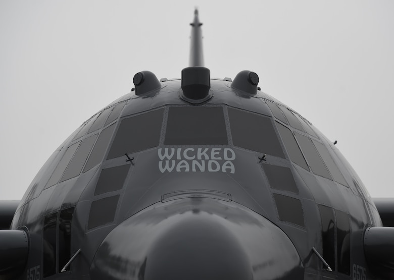 A dedication ceremony is held for the retired AC-130H Spectre, Wicked Wanda, at the Air Park, Hurlburt Field, Fla., Feb. 2, 2016. More than 400 people attended the dedication ceremonies for the AC-130H Spectre and MC-130P Combat Shadow to honor the legacy of these aircraft at the air park. As the aircraft retire, the Air Force and Air Force Special Operations Command modernize the fleet with the AC-130J Ghostrider and MC-130J Commando II.  (U.S. Air Force photo by Airman 1st Class Kai White)