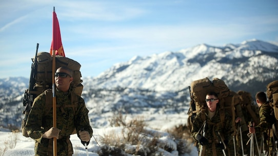 Cpl. Immanuel Friddle, guide for Combat Logistics Battalion 252, prepares for a hike in Bridgeport, California, during Mountain Exercise 1-16, a cold weather training exercise, on Jan. 11, 2016. The training is a prerequisite for a large, multi-national exercise called Cold Response 16 that will take place in Norway, March of this year. Cold Response will challenge 12 NATO allies' and partners' abilities to work together and respond in the case of a crisis.
