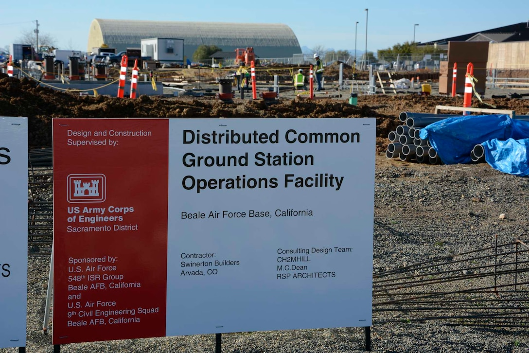 The 548th Intelligence, Surveillance, and Reconnaissance Group's Distribution Common Ground System project site Jan. 27, 2016, at Beale Air Force Base, California. The DCGS will work in conjunction with other ISR assets to meet the demand high-altitude ISR. The facility is slated to be complete by the end of 2016. (U.S. Air Force photo by Sean Beermann)