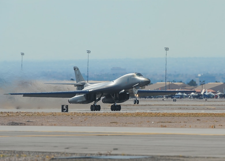 A B-1B Lancer, assigned to the 7th Bomb Wing, Dyess Air Force Base, Texas, takes off from Nellis AFB, Nev., during Red Flag 16-1 Jan. 29, 2016. The 7th BW is one of many U.S. and allied air forces the 606th Air Control Squadron from Spangdahlem Air Base, Germany, provides tactical command and control for during the three-week realistic air combat training over the 2.9 million acre Nevada Test and Training Range. (U.S. Air Force photo by Senior Airman Jake Carter)