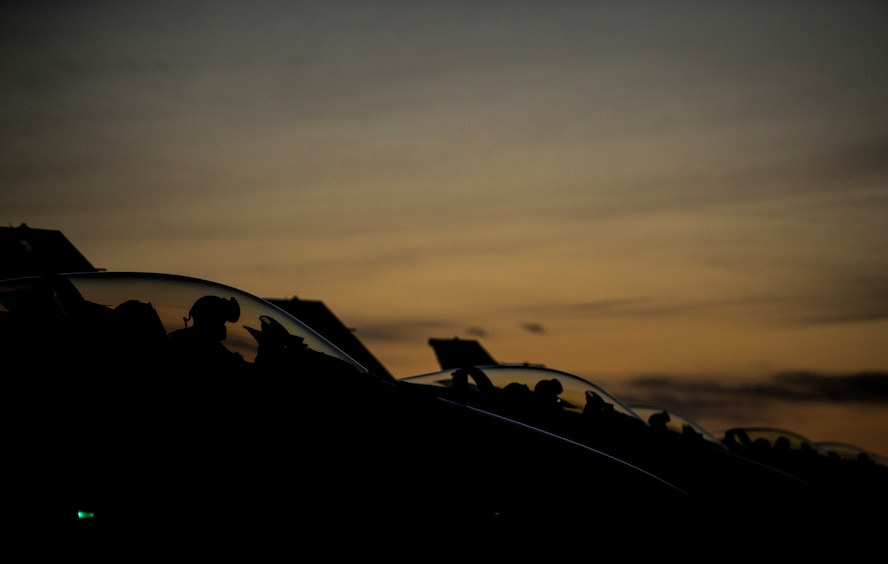 U.S. Air Force F-16 Fighting Falcon fighter aircraft pilots assigned to the 480th Expeditionary Fighter Squadron prepare for flight during a flying training deployment on the flightline at Souda Bay, Greece, Feb. 1, 2016. The U.S. routinely conducts training with partner and allies while improving interoperability. (U.S. Air Force photo by Staff Sgt. Christopher Ruano/Released)