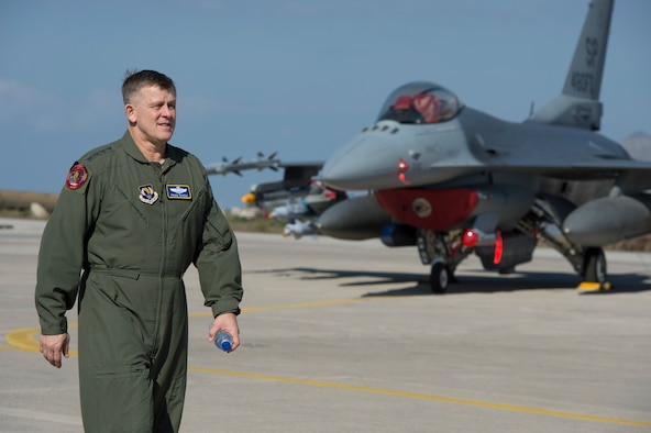 U.S. Air Forces in Europe and Air Forces Africa commander Gen. Frank Gorenc walks the flightline at Souda Bay, Greece, before a flying training mission Feb. 1. 2016. Gorenc, visited 480th Expeditionary Fighter Squadron Airmen to learn more about the bilateral training being conducted with the Hellenic air force. (U.S. Air Force photo by Staff Sgt. Christopher Ruano/Released)