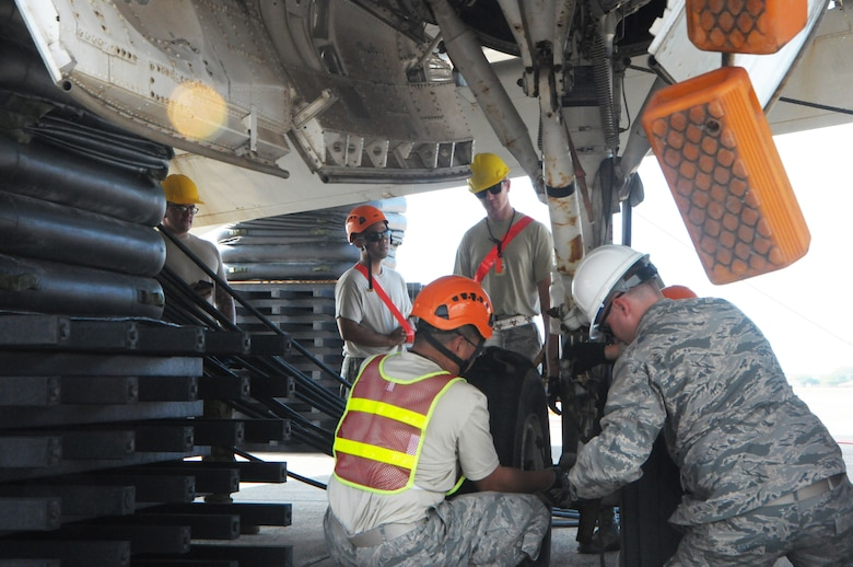 Airmen from the Hawaii Air National Guard 154th Maintenance Squadron and active duty 15th Maintenance Squadron check the stability of landing gear on a lifted P-3 Orion aircraft during a Crash, Damaged, Disabled Aircraft Recovery training exercise, Jan. 27, 2016, Kalealoa, Hawaii. Hickam's CDDAR team is comprised of highly trained and specialized maintainers who work to quickly remove and recover a disabled aircraft with the goal of minimizing additional damage. (U.S. Air National Guard photo by Senior Airman Orlando Corpuz/released)