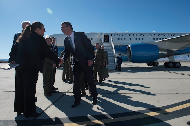 Defense Secretary Ash Carter arrives at Naval Air Weapons Station China Lake, Calif., Feb. 2, 2016. Carter is traveling this week to meet with service members and other members of the defense community to discuss the fiscal year 2017 defense budget proposal and its impact on the military. DoD photo by Navy Petty Officer 1st Class Tim D. Godbee