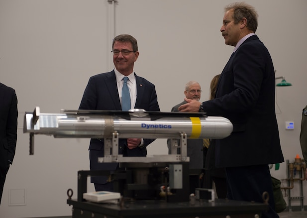 Defense Secretary Ash Carter receives a tour of the propulsion laboratory at Naval Air Weapons Station China Lake, Calif., Feb. 2, 2016. DoD photo by Navy Petty Officer 1st Class Tim D. Godbee