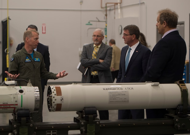 Defense Secretary Ash Carter receives a tour of the propulsion laboratory at Naval Air Weapons Station China Lake, Calif., Feb. 2., 2016. DoD photo by Navy Petty Officer 1st Class Tim D. Godbee