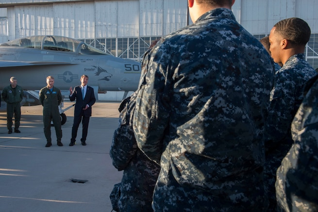 Defense Secretary Ash Carter speaks with troops at Naval Air Weapons Station China Lake, Calif., Feb. 2, 2016. DoD photo by Navy Petty Officer 1st Class Tim D. Godbee