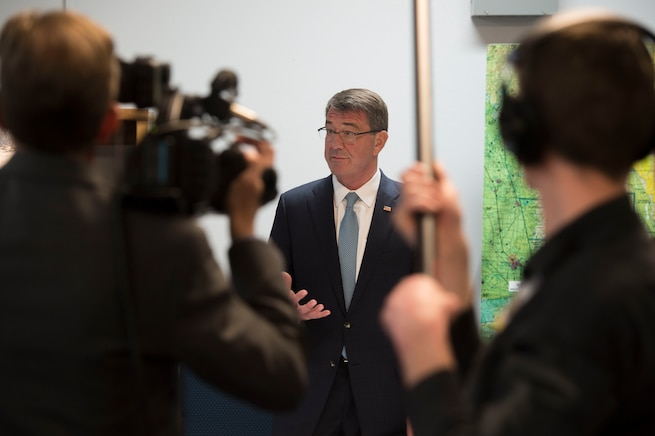 Defense Secretary Ash Carter speaks to reporters at Naval Air Weapons Station China Lake, Calif., Feb. 2, 2016. DoD photo by Navy Petty Officer 1st Class Tim D. Godbee