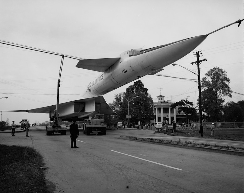 The North American XB-70 Valkyrie moves from the Air Force Museum at Patterson Field down State Route 444 to the new home at historic Wright Field during 1970-71. (U.S. Air Force photo)