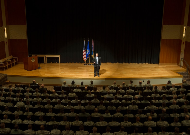 Retired Chief Master Sgt. of the Air Force James A. Roy speaks to employees of the National Air and Space Intelligence Center during his tour of Wright-Patterson Air Force Base, Ohio, Friday, Jan. 29, 2016. Roy took questions from the audience after speaking at NASIC and answered questions about the new enlisted performance report system, Community College of the Air Force and warrant officers. (U.S. Air Force photo by Senior Airman Justyn Freeman)