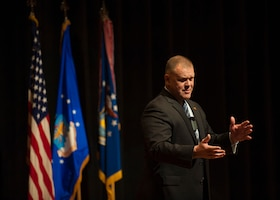 Retired Chief Master Sgt. of the Air Force James A. Roy speaks to employees of the National Air and Space Intelligence Center during his tour of Wright-Patterson Air Force Base, Ohio, Friday, Jan. 29, 2016. Roy entered into the Air Force in September of 1982 and retired after 31 years of service. (U.S. Air Force photo by Senior Airman Justyn Freeman)