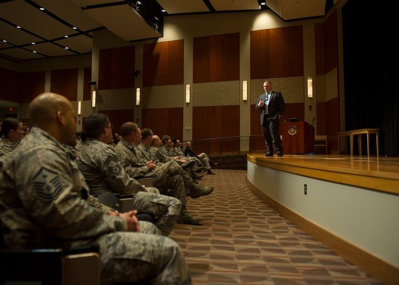 Retired Chief Master Sgt. of the Air Force James A. Roy speaks to employees of the National Air and Space Intelligence Center during his tour of Wright-Patterson Air Force Base, Ohio, Friday, Jan. 29, 2016. Roy served as the 16th Chief Master Sergeant of the Air Force. (U.S. Air Force photo by Senior Airman Justyn Freeman)