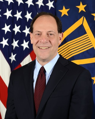 Glenn Fine, Department of Defense Inspector General, poses for his official portrait in the Army portrait studio at the Pentagon in Arlington, Virginia, Jan. 14, 2016.  (U.S. Army photo by Monica King/Released)