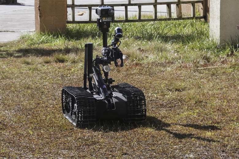 The MK-2 Mod 1 Talon, an Explosive Ordnance Disposal robot controlled by Marines with EOD Company, 8th Engineer Support Battalion, is used instead of Marines to acquire initial visuals of an improvised explosive device during an IED access training exercise aboard Camp Lejeune, N.C., Jan. 29, 2016. During the exercise, evaluators assessed Marines on safely locating and disposing of an IED while suppressing the full capabilities of the threat. (U.S. Marine Corps photo by Lance Cpl. Aaron K. Fiala/Released)