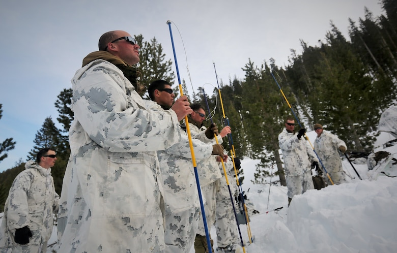 Marines with Alpha Company, 2nd Assault Amphibian Battalion, use avalanche probes in search for a simulated casualty during an avalanche scenario at the Mountain Warfare Training Center in Bridgeport Calif., Jan. 20, 2016. Marines across II Marine Expeditionary Force and 2nd Marine Expeditionary Brigade took part in the scenario as part of Mountain Exercise 1-16 in preparation for Exercise Cold Response 16.1 in Norway this March. The exercise will feature military training including maritime, land and air operations that underscore NATO's ability to defend against any threat in any environment. (U.S. Marine Corps photo by Cpl. Dalton A. Precht/released)