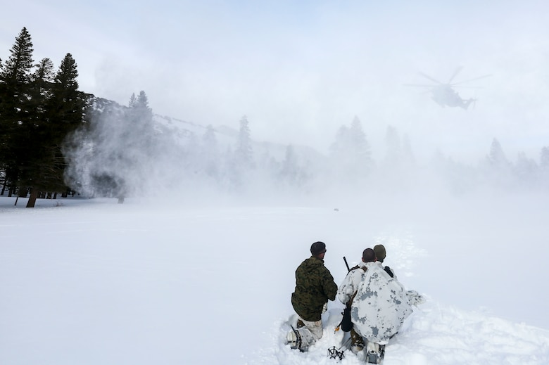 Marines with 2nd Platoon, Alpha Company, 2nd Assault Amphibian Battalion, radio in a CH-53E Super Stallion as part of their avalanche scenario at the Mountain Warfare Training Center in Bridgeport, Calif., Jan. 20, 2016.  Marines across II Marine Expeditionary Force and 2nd Marine Expeditionary Brigade took part in the scenario as part of Mountain Exercise 1-16 in preparation for Exercise Cold Response 16.1 in Norway this March. The exercise will feature military training including maritime, land and air operations that underscore NATO's ability to defend against any threat in any environment. (U.S. Marine Corps photo by Cpl. Dalton A. Precht/released)