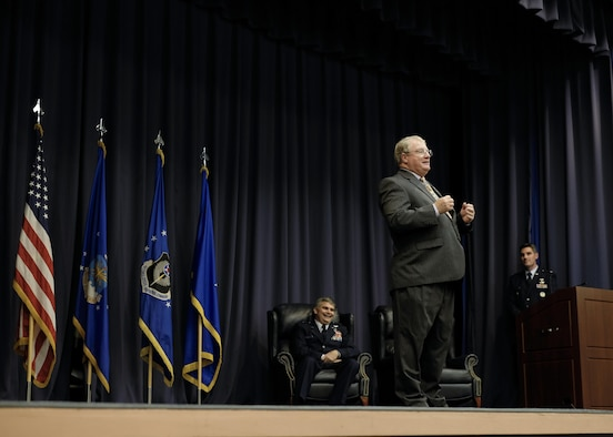 John Townsend, deputy division chief of special operations forces mobility with Air Force Special Operations Command, retired at the King Auditorium on Hurlburt Field, Fla., Jan. 22, 2016. Townsend spent 42 years as both a civilian and an officer in AFSOC. He was one of the navigators that participated in Operation Eagle Claw in 1980.