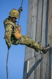 A Japan Ground Self-Defense Force (JGSDF) soldier rappels down a tower during helicopter rope suspension training, during Exercise Iron Fist 2016 aboard Camp Pendleton, Calif., Feb. 1, 2016. Rappelling is a controlled descent from a great height using a harness and ropes as a pulley system. (U.S. Marine Corps photo by Cpl. Xzavior T. McNeal/Released)
