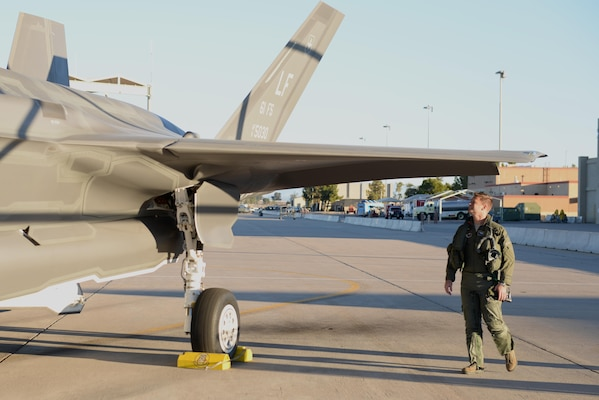 Lt. Col. Matthew Hayden, 56th Fighter Wing chief of safety and pilot attached to the 61st Fighter Squadron, inspects his F-35 before entering the cockpit and beginning take-off procedures, Feb. 2, 2016, at Luke Air Force Base. Hayden became the first Luke pilot to achieve 500 flight hours in an F-35. (U.S. Air Force photo by Airman 1st Class Ridge Shan)